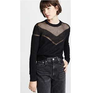 NEW Rag and Bone Black Mesh and Mohair Sweater